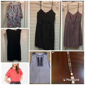 FOUR dresses, two shirts, one necklace